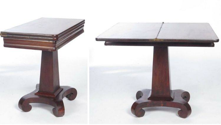 Antique Empire Games Table Mahogany Card Folding Occasional 19th c