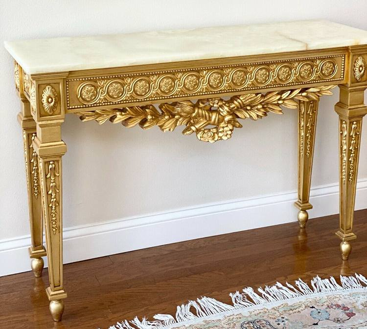 Antique GOLD Gilded Rococo ITALiAN French Ornate MARble top console table