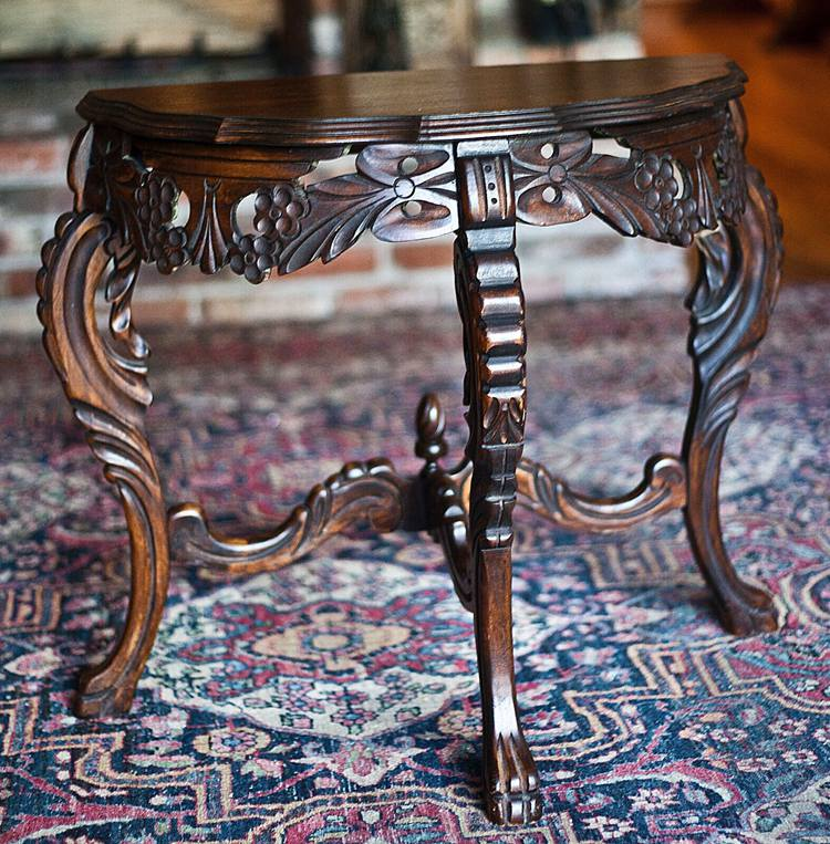 Antique Hand Carved Flame Mahogany Coach Sofa Console Demilune Entry Way Table