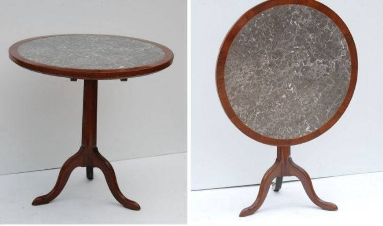 Antique Louis XVI Mahogany and Greystone Gueridon Table, late 18th Century