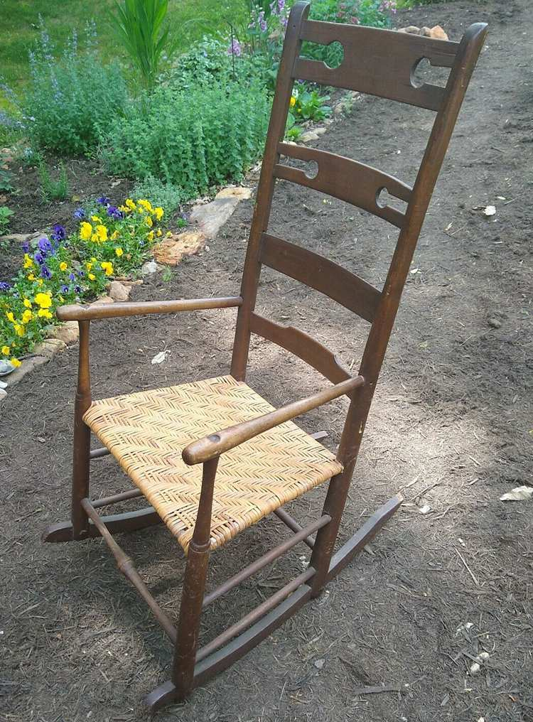 Antique Shaker Ladderback Rocker, Unique Keyhole Design, chips, worn, Cane Seat