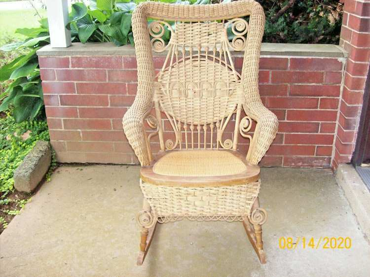 Antique Victorian RattanWicker Rocking Chair. Pre-Owned
