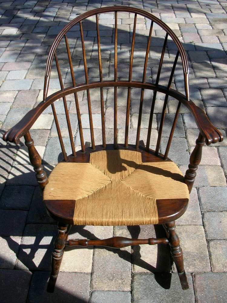 Antique Windsor Bow Back Arm Chair Rocker Rocking Chair W Rush Seat Youth