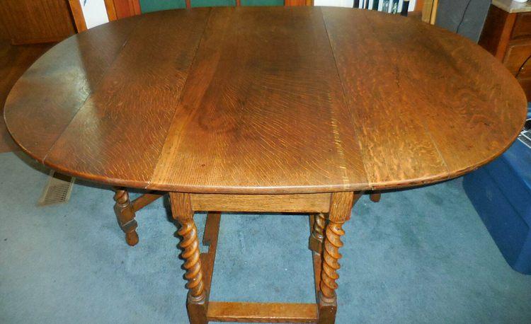 English Antique Oak Barley Twist Drop Leaf Table