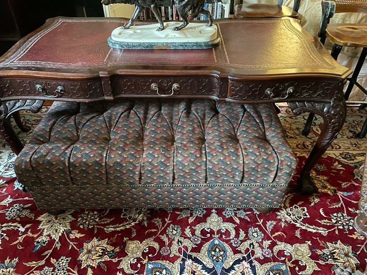 Large carved Partner's Mahogany Desk Inlaid Leather Top Brass Work
