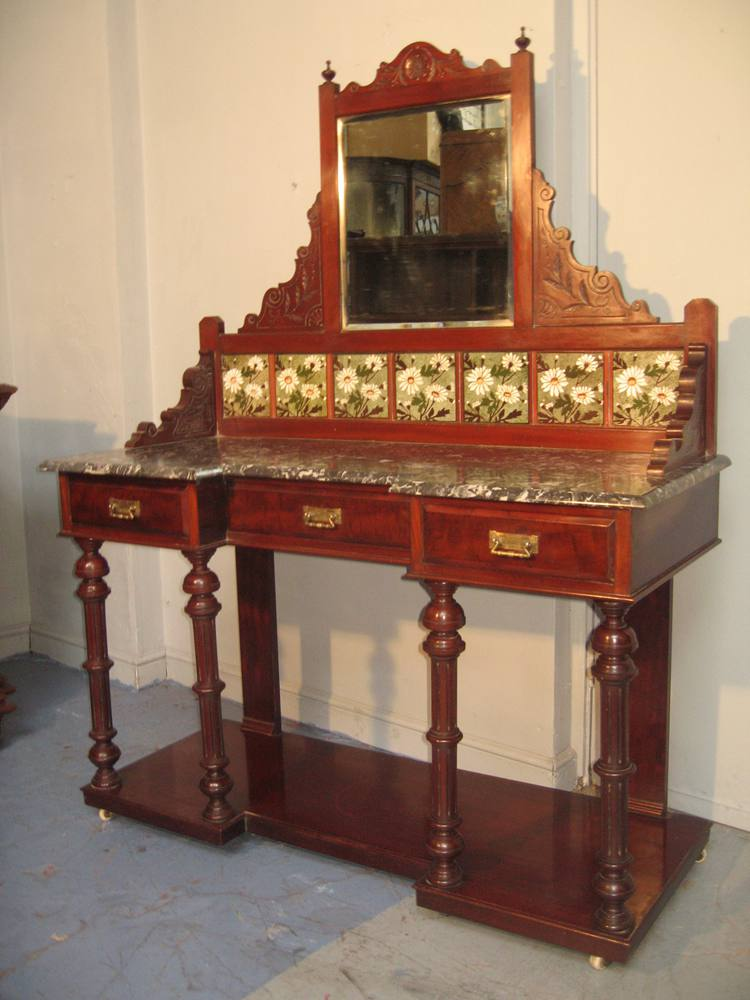Victorian Mahogany Marble And Tile Back Washstand