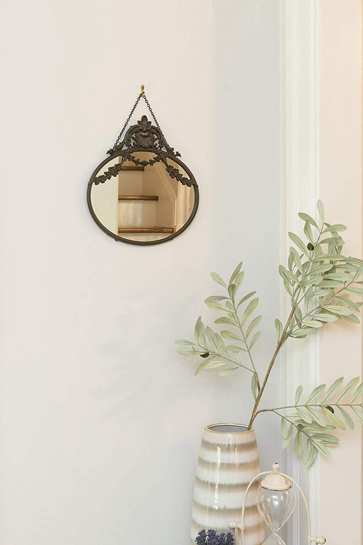 12. Hanging Oval Mirror with Pewter Frame