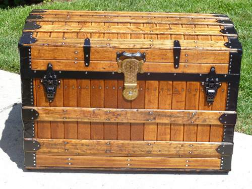 1880's Excelsior Oak Slat Antique Trunk