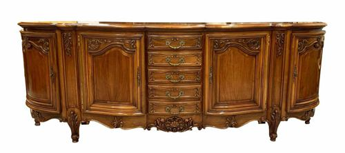 1900s Fine French Antique Louis XV Solid Walnut Sideboard or Buffet or Credenzas