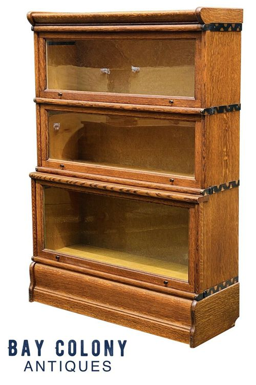 19TH C ANTIQUE ARTS & CRAFTS MACEY TIGER OAK STACKING BARRISTER BOOKCASE