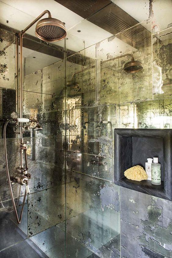 22. Faded Mirror Shower Walls