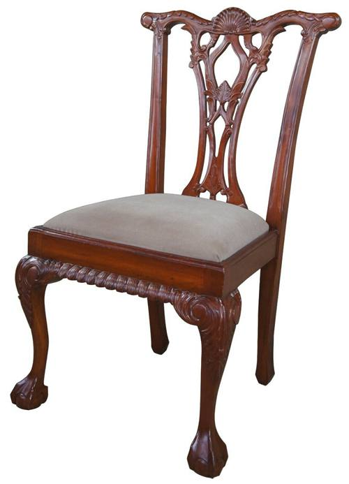 4 Vintage Mahogany Carved Chippendale Style Side Dining Chairs Ball & Claw Suede