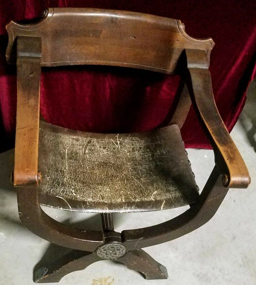 Antique 19th Century Carved Mahogany Spanish Curule Chair With Leather Sling