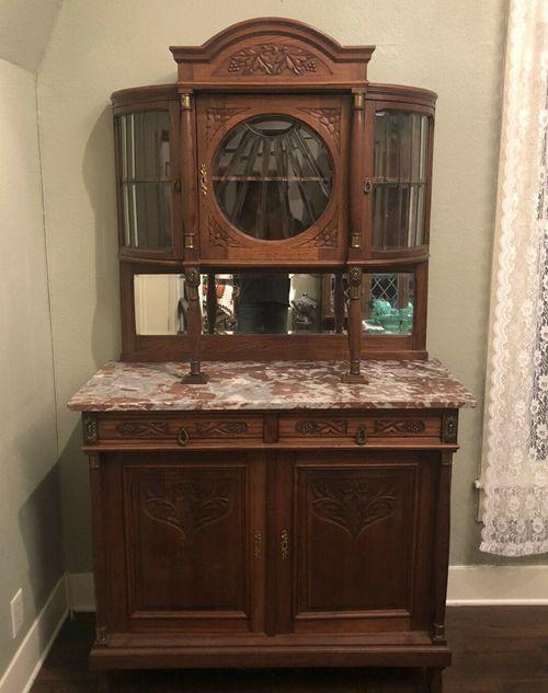 Antique Art Nouveau Oak Buffet Hutch Marble Top French Leaded Glass Premium Item