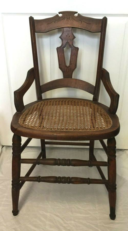Antique Carved Eastlake Victorian Cane Seat Dining Side Accent Chair