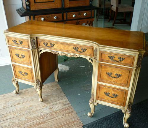 Antique French Satinwood Kneehole DeskVanity