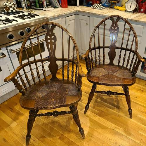 Antique Karpen Windsor Arm Chairs, Original Rush Seat - Two Chairs