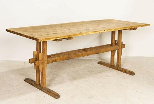 Antique Pine Farm Trestle Dining Table