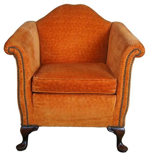 Antique Queen Anne Mahogany Gentlemans Club Library Arm Chair Orange Nailhead