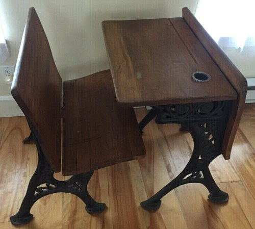 Antique School Desk And Chair with Folding Seat, Wood and Wrought IronAntique School Desk And Chair with Folding Seat, Wood and Wrought Iron