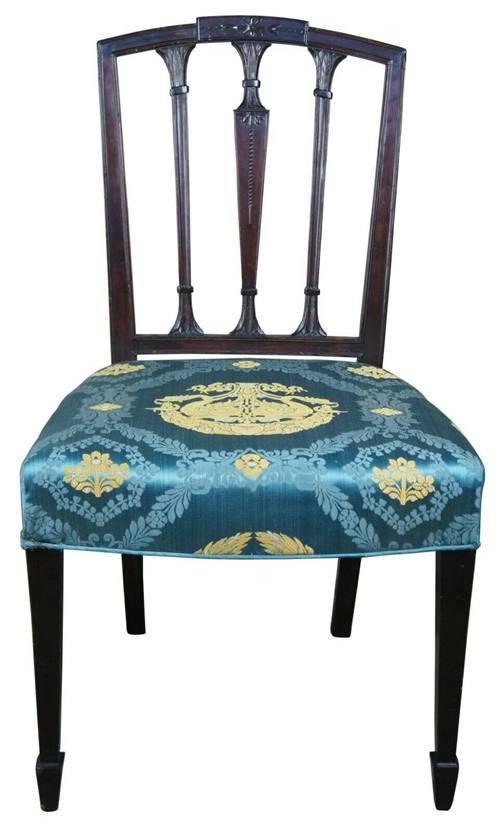 Antique Sheraton Mahogany Dining Side Chair w Scalamandre Fabric Hepplewhite