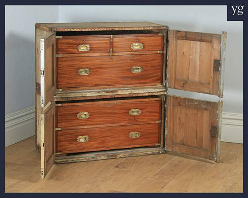 Antique Victorian Colonial Mahogany & Brass Campaign Chest of Drawers with Case5