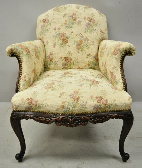 Antique Victorian French Carved Mahogany Upholstered Bergere Lounge Arm Chair