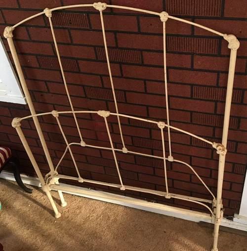 Antique Victorian Wrought & Cast Iron Bed NO Rails