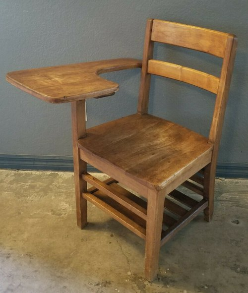 BEAUTIFUL Vintage Student Solid Wood School Desk & Attached Chair Antique