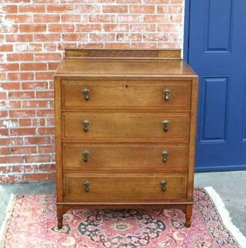English Antique Oak Edwardian 4 Drawer Chest