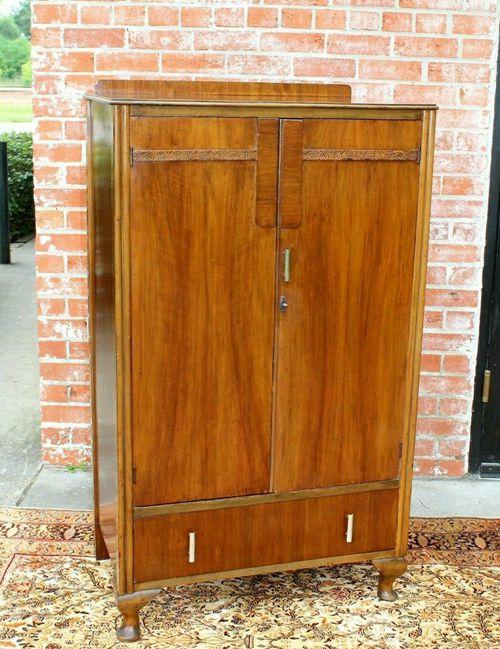 English Antique Queen Anne 2 Doors & 1 Drawer Cabinet Wardrobe