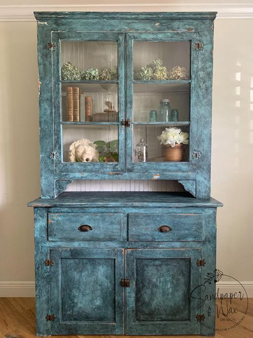 French Farmhouse style Antique Hutch 1900's, Primitive Cabinet, Rustic Patina Cupboard
