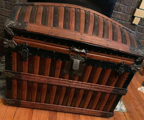 Original Victorian Martin Maier Oak Slat Dome Top Trunk Tray Rare Antique