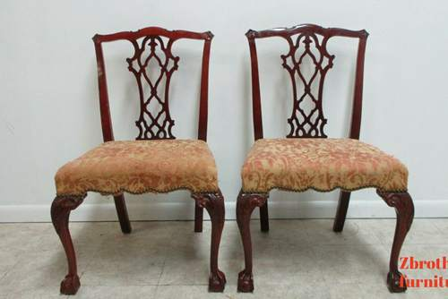 Pair Antique Mahogany Chippendale Dining Room Side Chairs Ball Claw