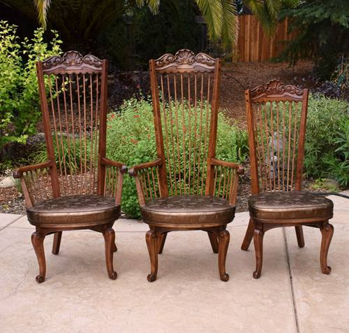 Set of 3 Raymond Enkeboll High Spindle Back Dining Chairs La Condesa 2 End Gd Cd