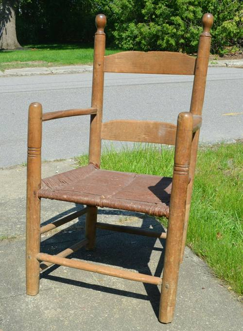 Slat Back Arm Chair Primitive PRE- 1700 Country Colonial American