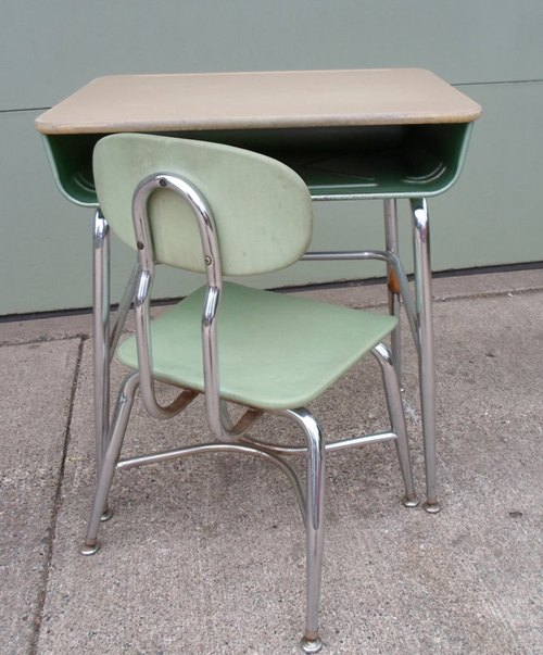 Vintage 1966 Mid Century Modern Child's School Desk and Chair, Green, Chrome, Made By Corex, M
