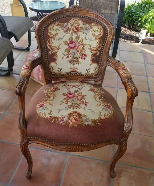 Vintage French Louis XV embroidery seat Bergere Fauteuil Arm Chair antique