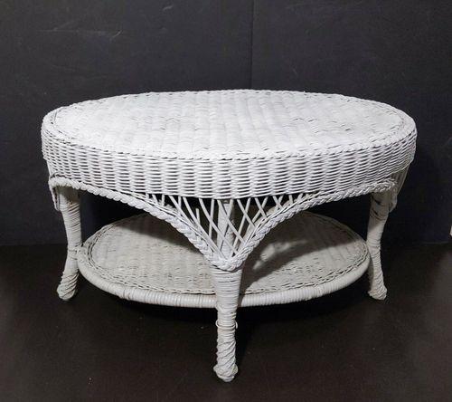 Vintage Oval White Wicker Rattan Coffee Table Boho Shabby Chic Coastal MCM