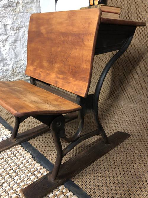 Vintage Wood School Desk On Runners With Metal Unique Plant Stand Photo Prop