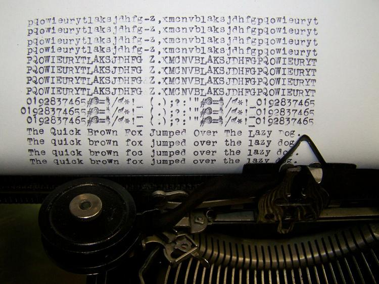 fonts on a typewriter