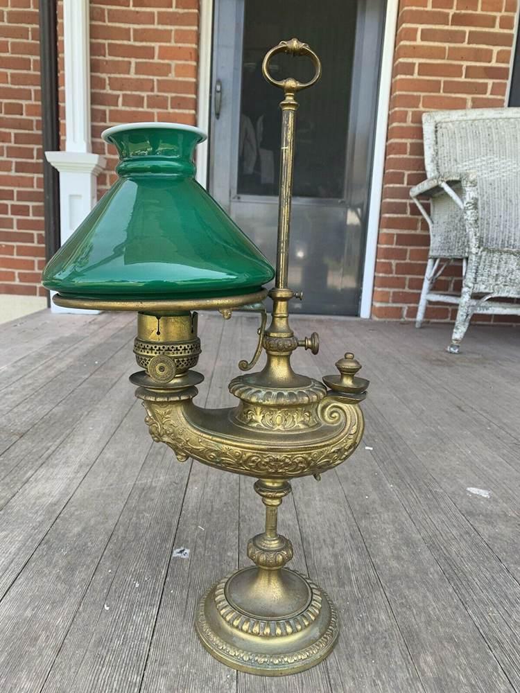 ANTIQUE 1880's HARVARD BRASS STUDENT Oil ,Kerosene LAMP