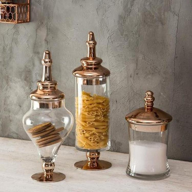 Antique Decorative Apothecary Glass Jars with Copper Lid