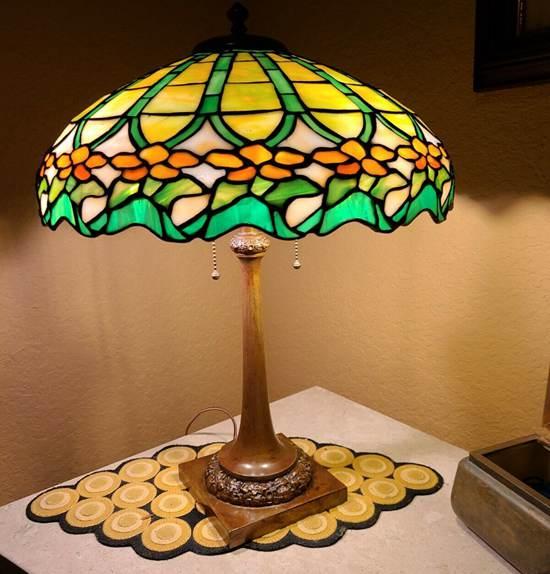 Antique Duffner and Kimberly Pompeian Lamp Tiffany Studios Handel era