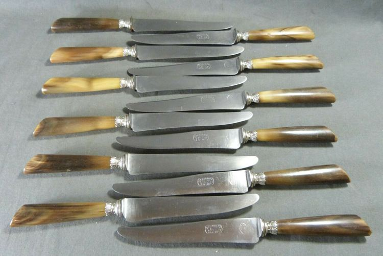 """Antique French Horn Knives Silver Blade & Collars by """"Belorgey - Auxerre"""" 12 pcs"""