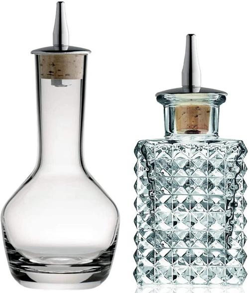 Bitters Bottle - Apothecary Crystal Lead free Crystal Glass with Cork and Stainless Steel Dasher Top