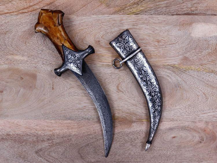 CraftVatika Vintage Damascened Dagger Mughal Indo Persian Antique Knife Sword Silver Work Art