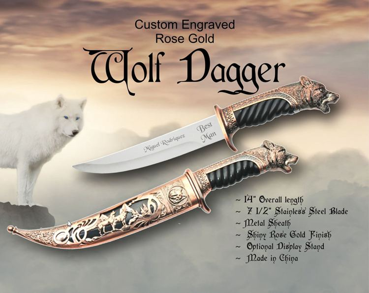 Wolf Dagger, Engraved Knife, Wolf Gift