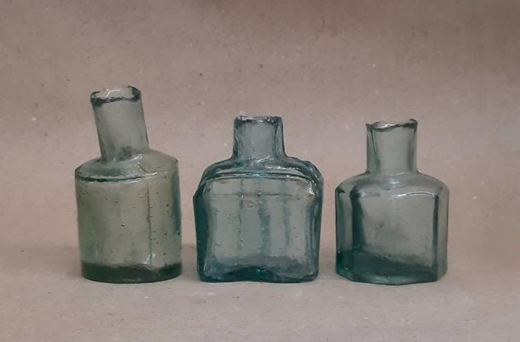 ink well lot collection of 3 set lot antique aqua blue green ink bottle vintage glass unearthed jar sea glass