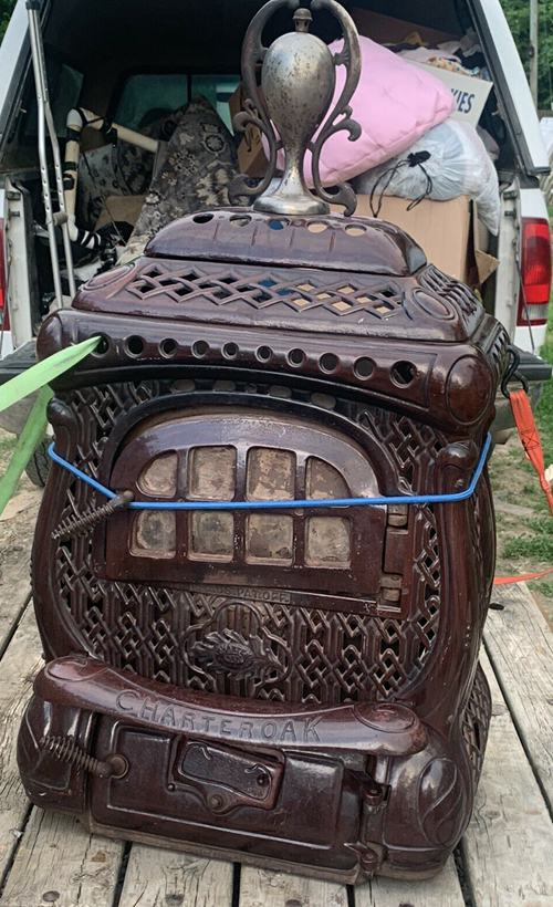 vintage charter oak wood stove